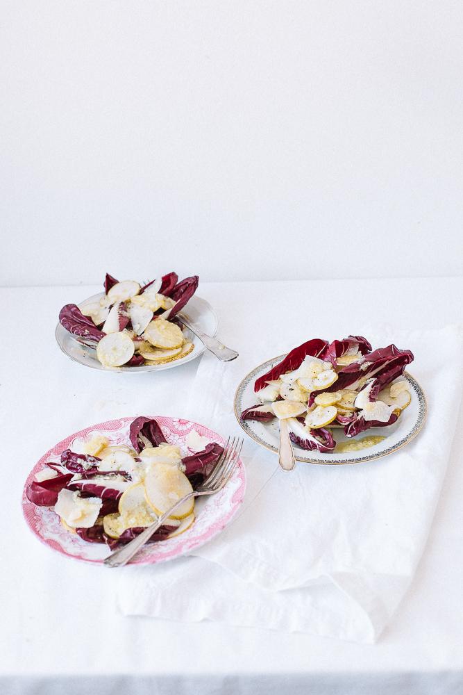 Radicchio Birnensalat mit Parmesandressing